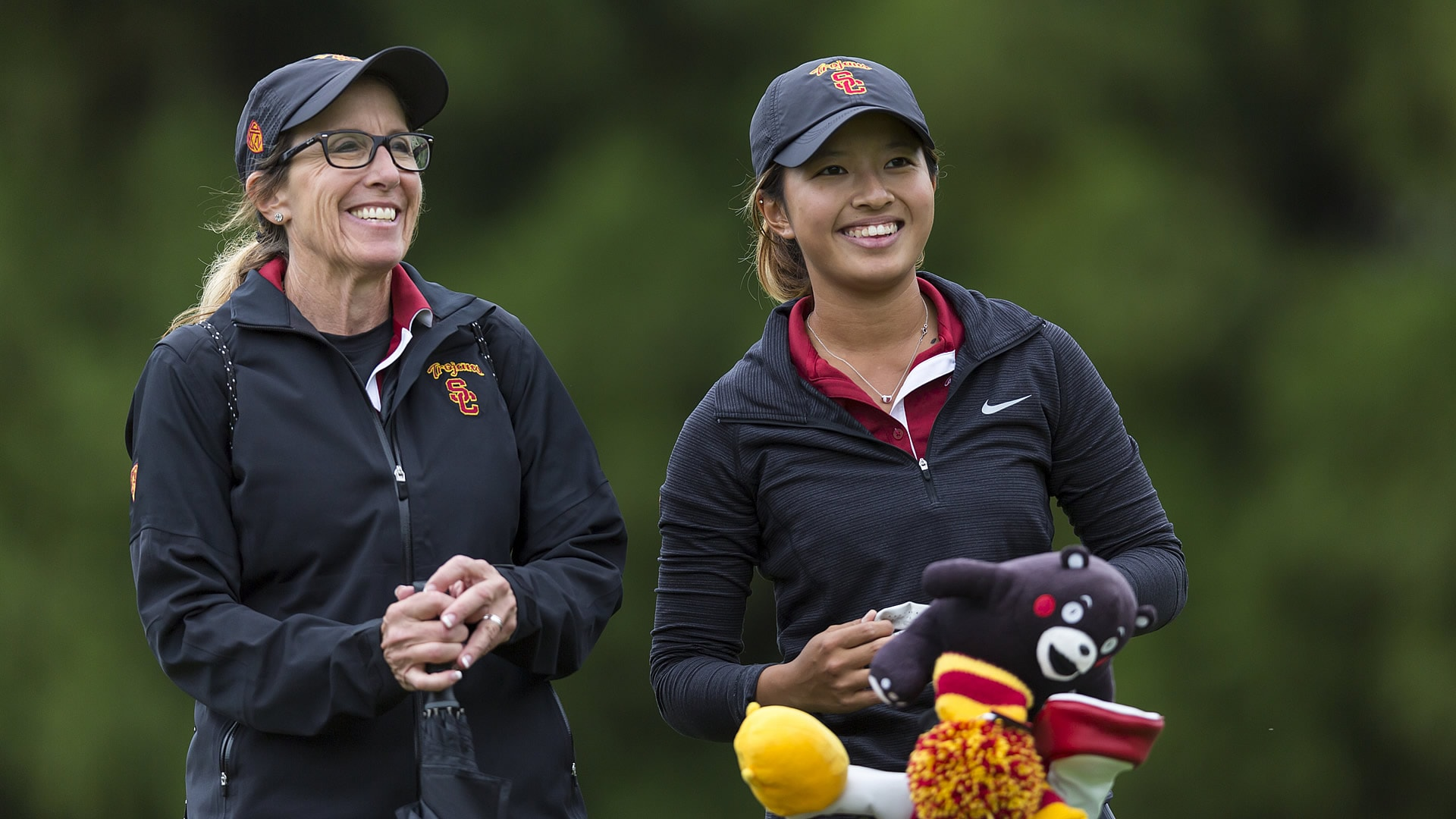USC women's golf coach Andrea Gaston and Tiffany Chan.