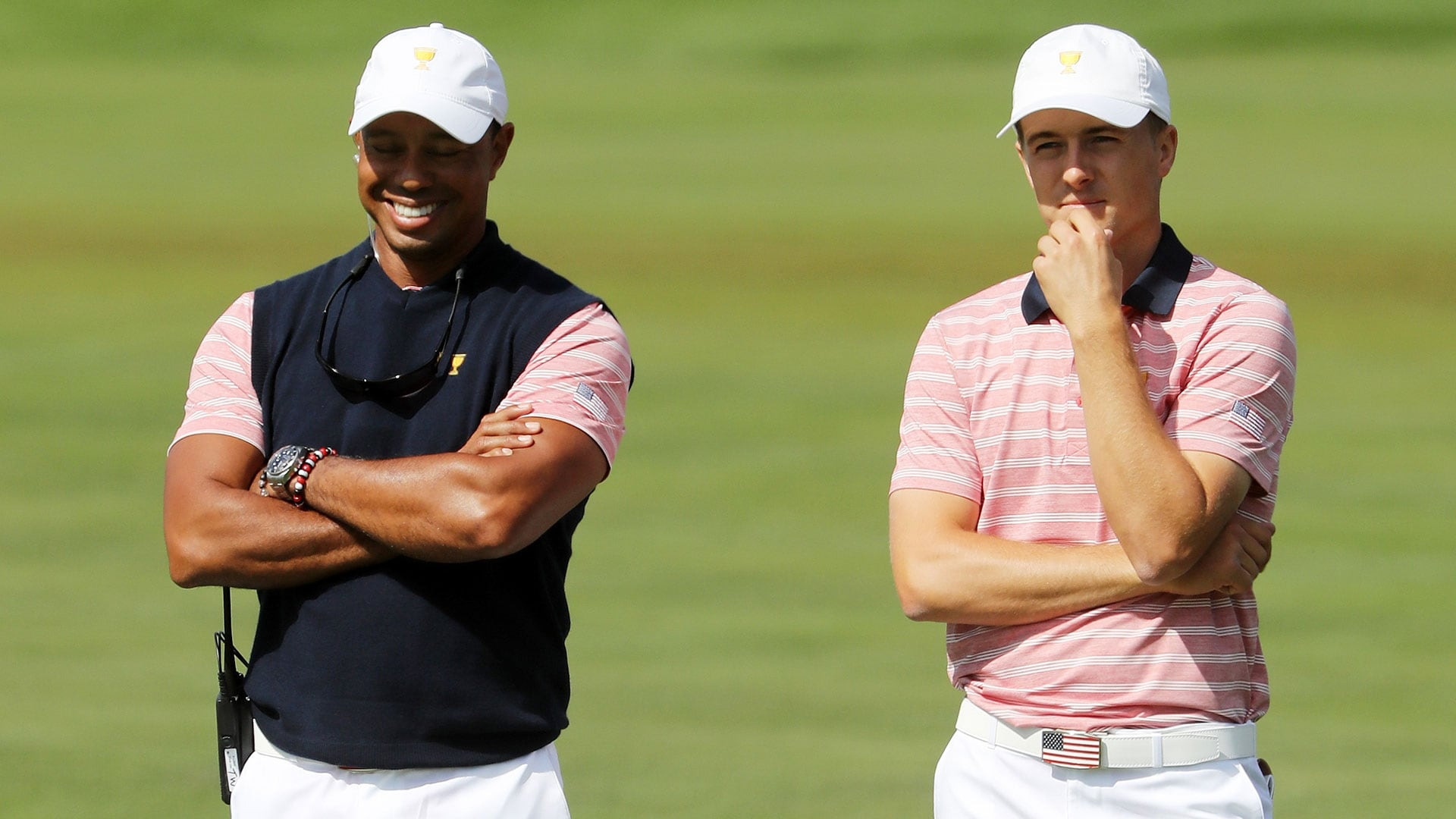 Tiger Woods and Jordan Spieth during the 2017 Presidents Cup.