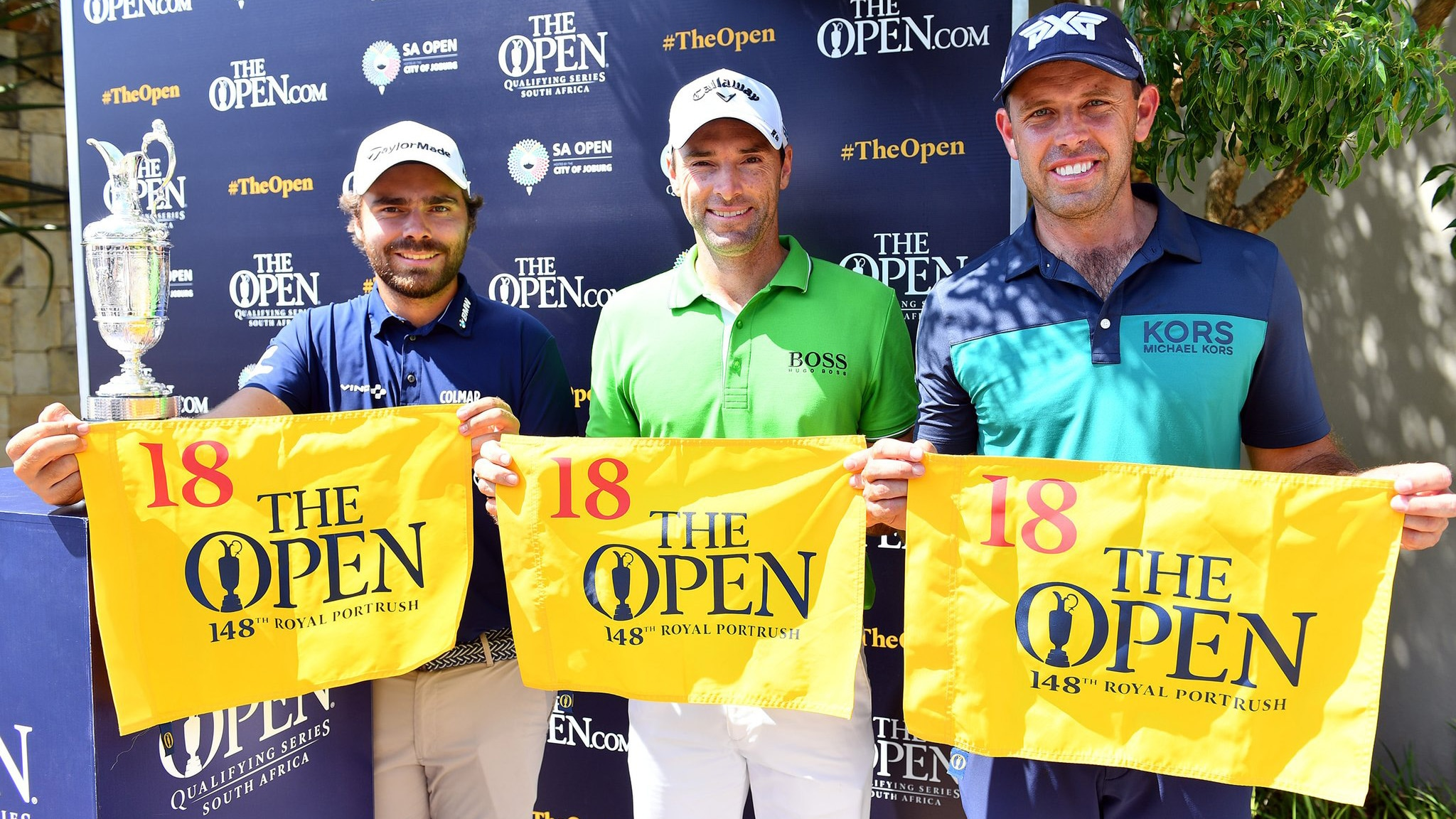 2019 Open Championship qualifiers Romain Langasque, Oliver Wilson and Charl Schwartzel at the 2018 South African Open