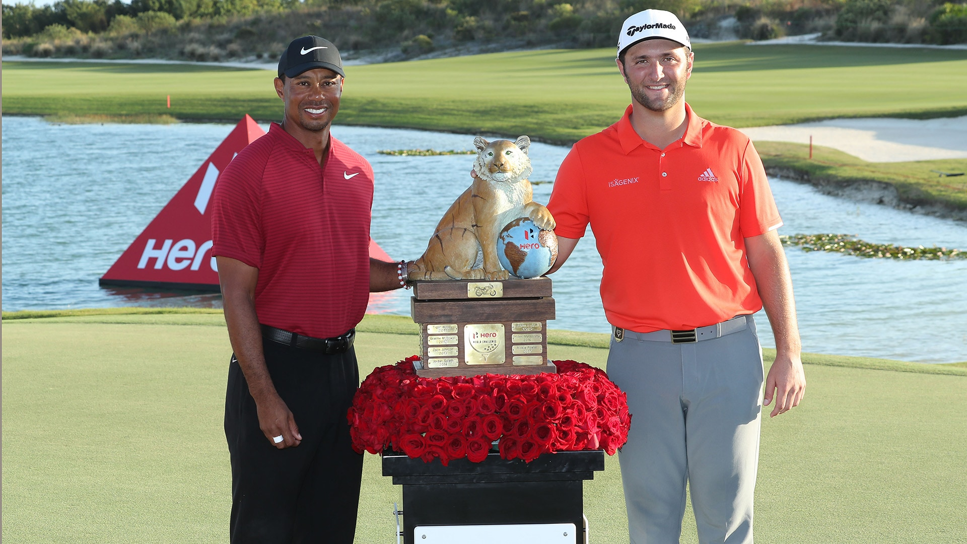 Tiger Woods and Jon Rahm at the 2018 Hero World Challenge