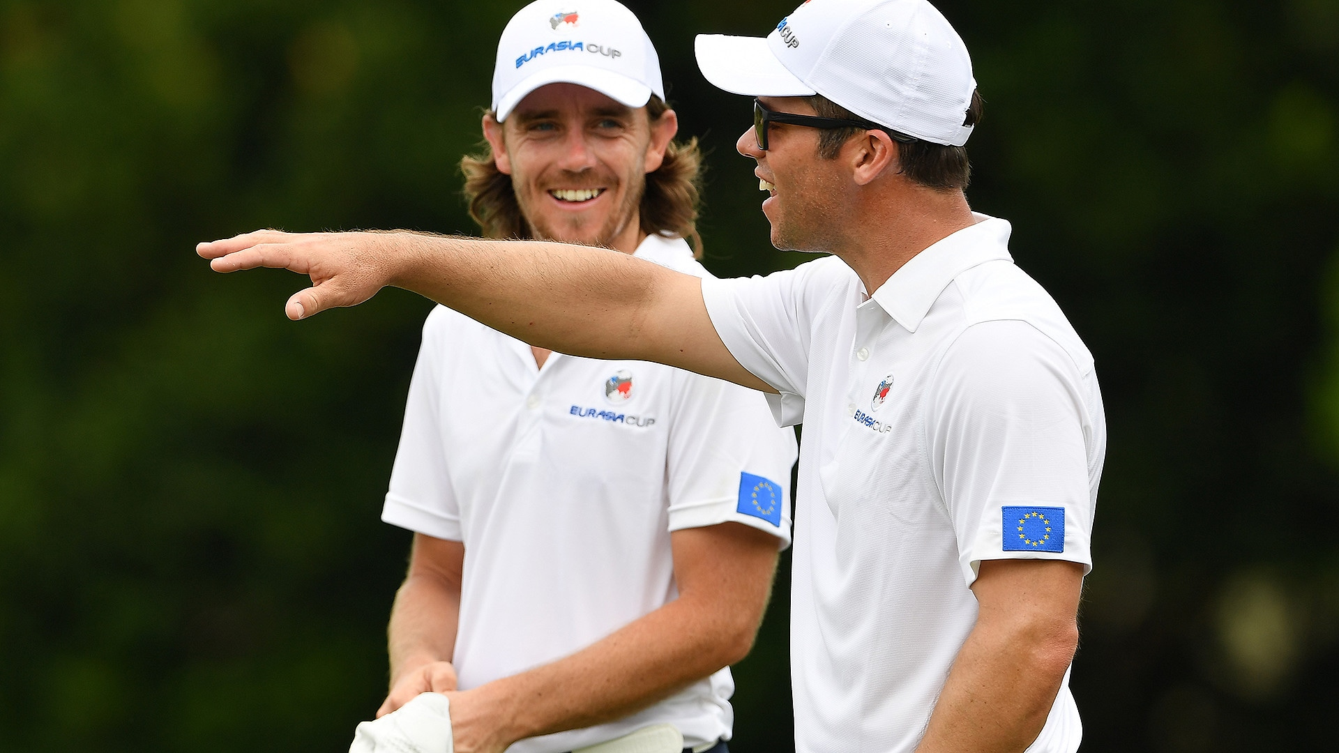 Tommy Fleetwood and Paul Casey at the 2018 EurAsia Cup.