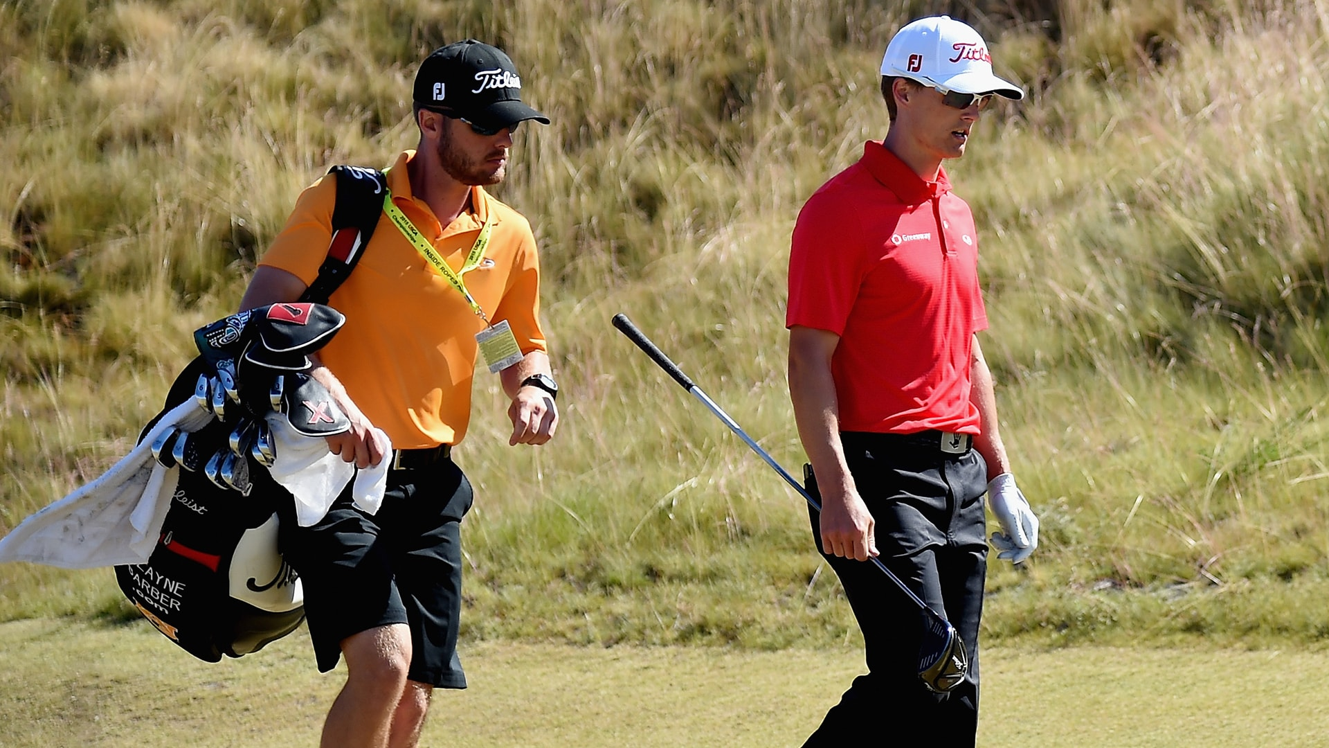 Caddie Cory Gilmer and Blayne Barber at the 2015 U.S. Open.
