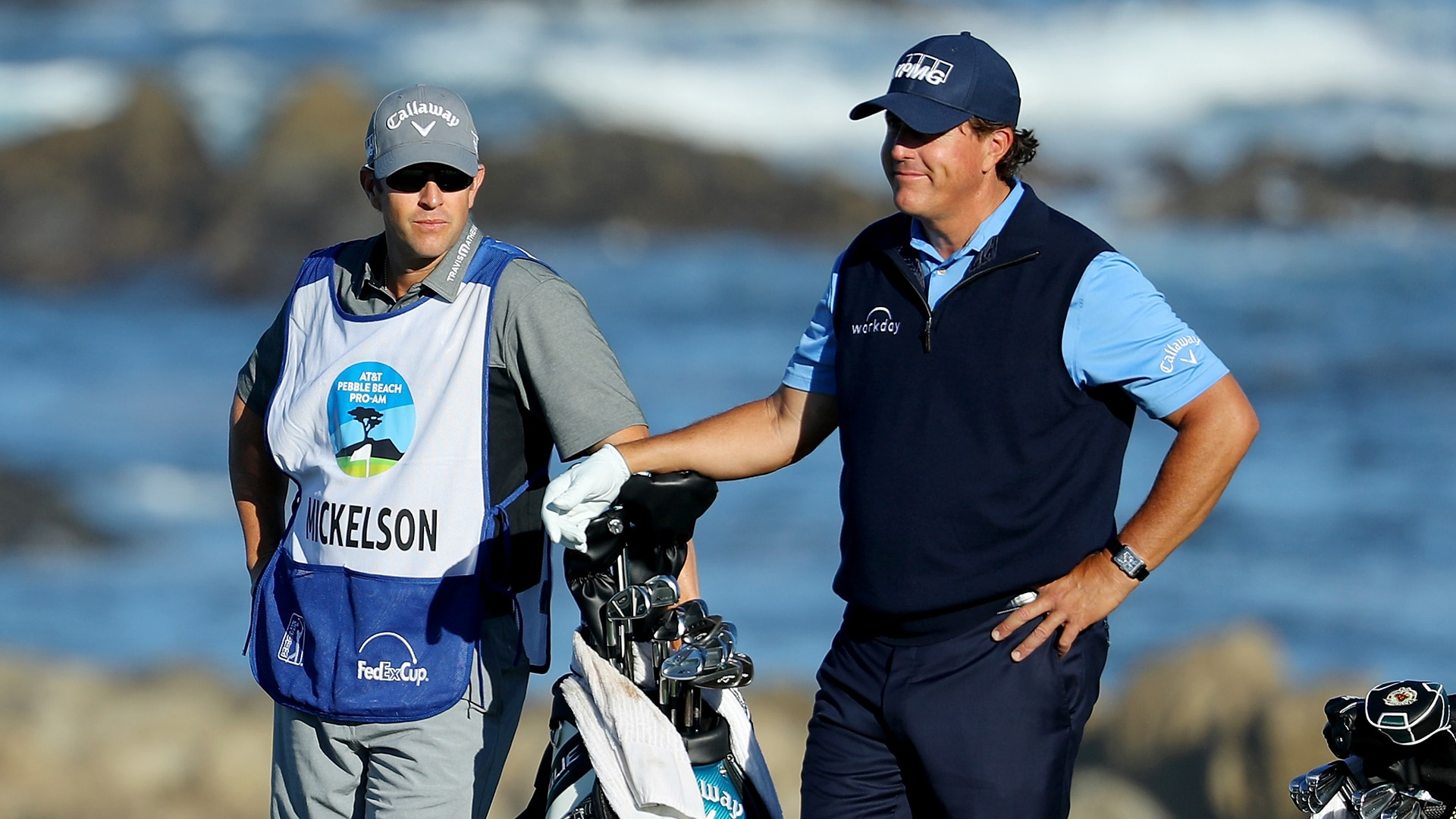 Tim Mickelson and Phil Mickelson at the 2018 AT&T Pebble Beach Pro-Am.