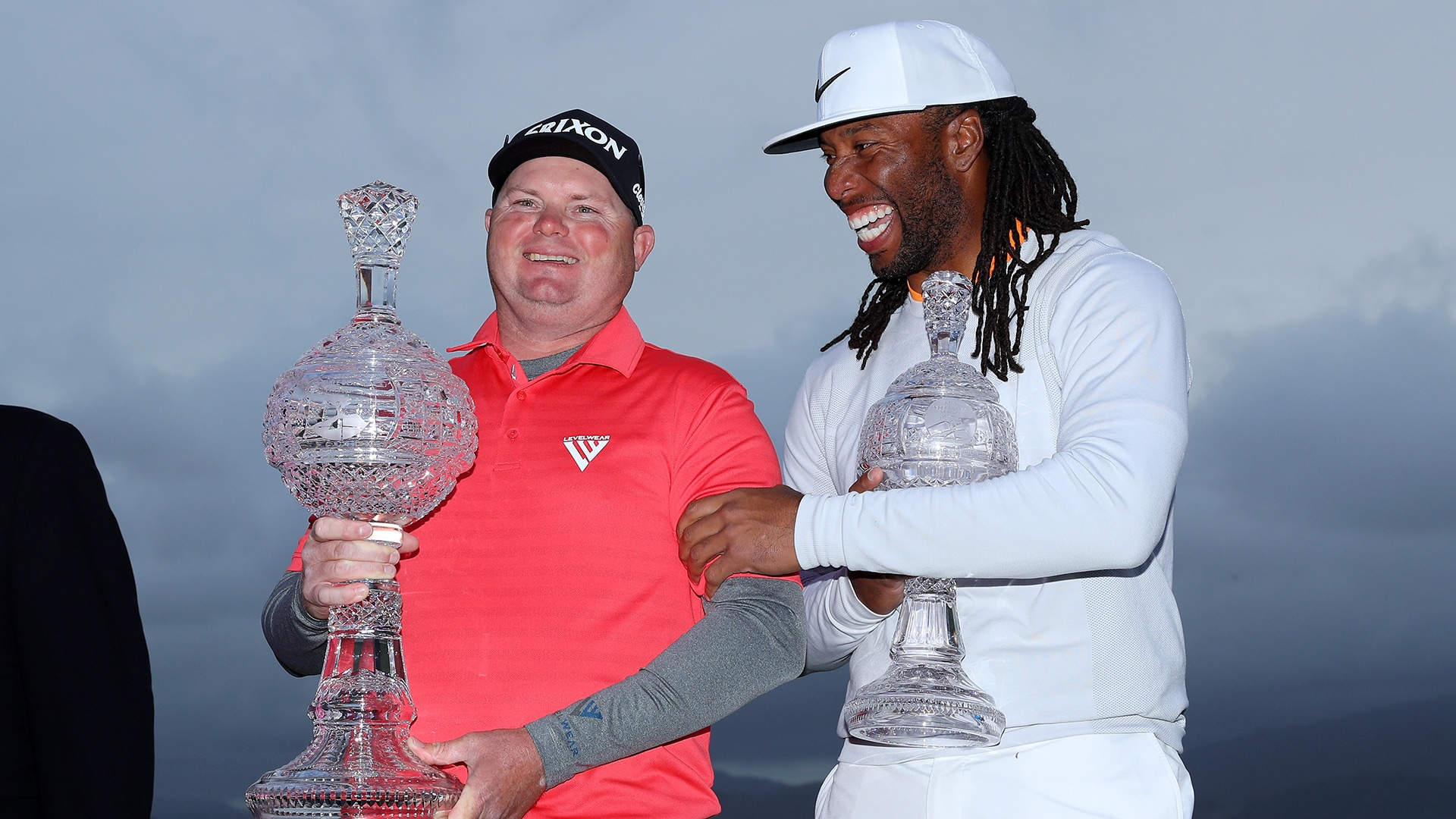 Ted Potter Jr. and Arizona Cardinals wide receiver Larry Fitzgerald at the 2018 AT&T Pebble Beach Pro-Am.