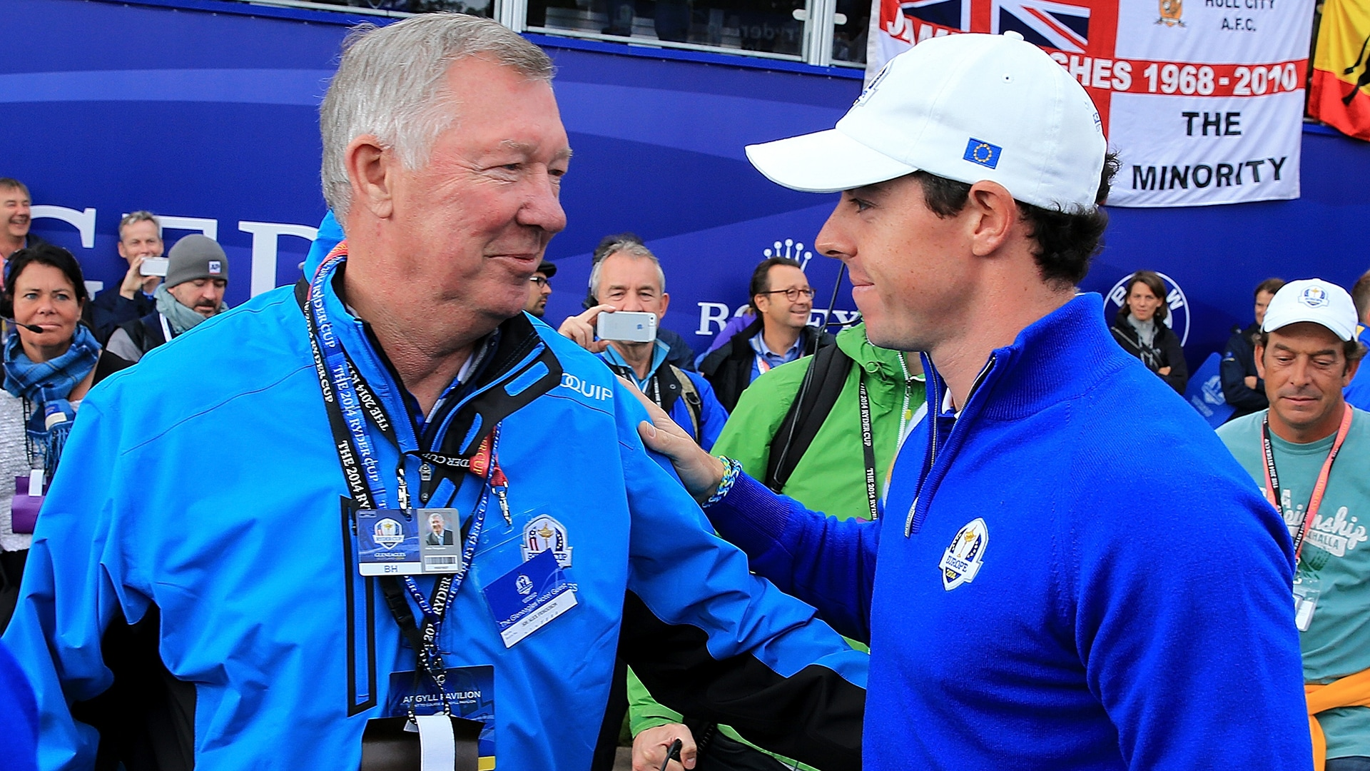 Sir Alex Ferguson and Rory Mcilroy at the 2014 Ryder Cup.