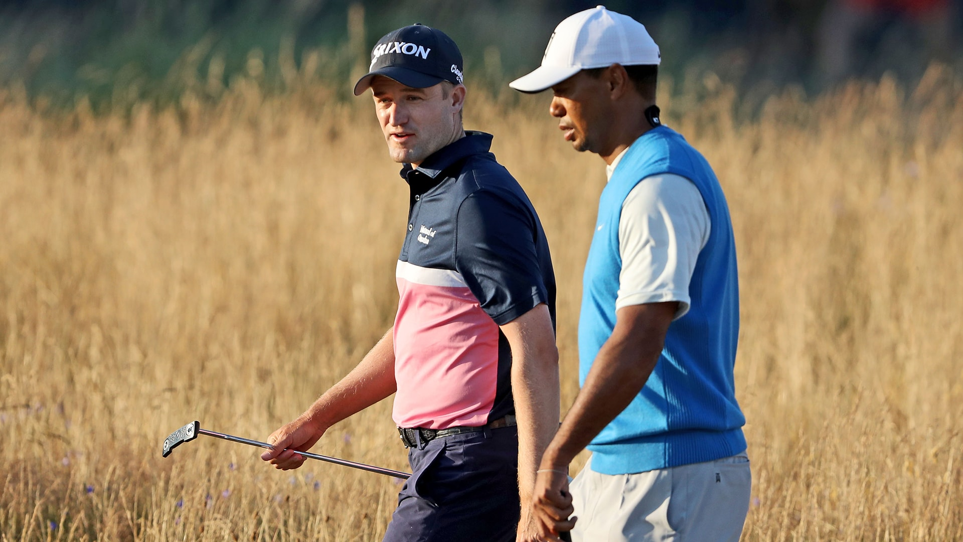 Russell Knox and Tiger Woods at the 2018 Open Championship.