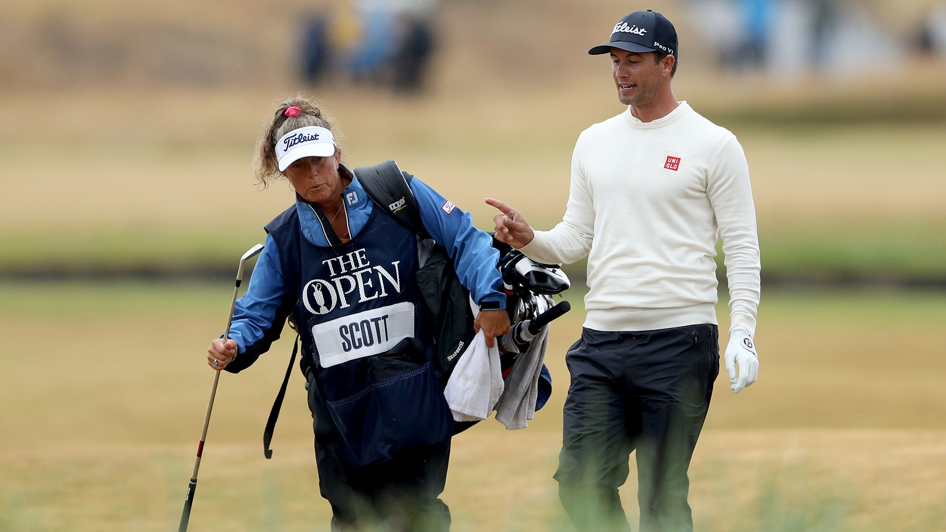 Fanny Sunesson and Adam Scott at the 2018 Open Championship.