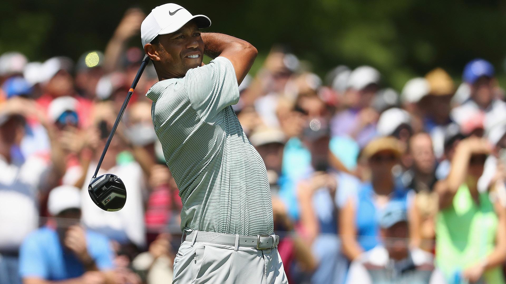 shades  backwards hat  tiger goes  bossmode at 2018 pga