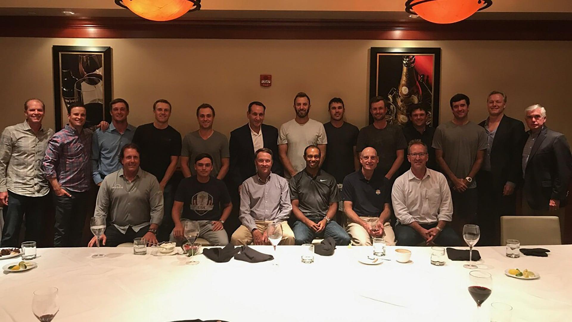 u s  ryder cup team has dinner with duke basketball coach