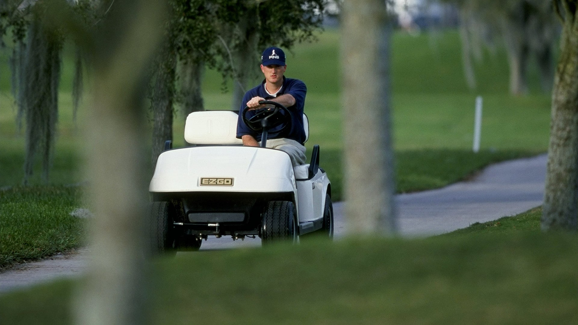 Casey Martin in cart at Lakeland Classic