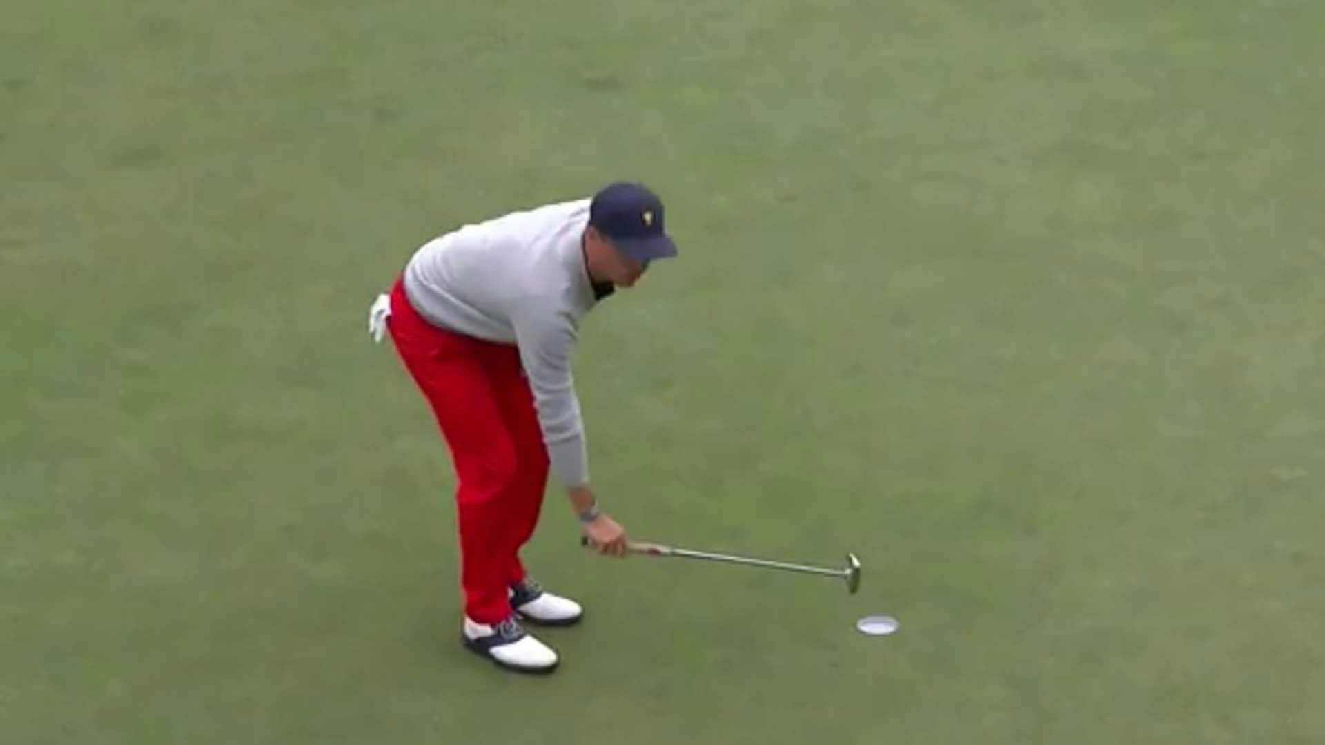 Watch: Thomas miffed after Internationals don't concede putt