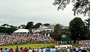 Quail Hollow's 18th hole at the Wells Fargo Championship