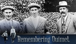 Harry Vardon, Francis Ouimet and Ted Ray after the 1913 U.S. Open