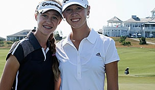 Jessica and Nelly Korda in the 2013 U.S. Women's Open practice round