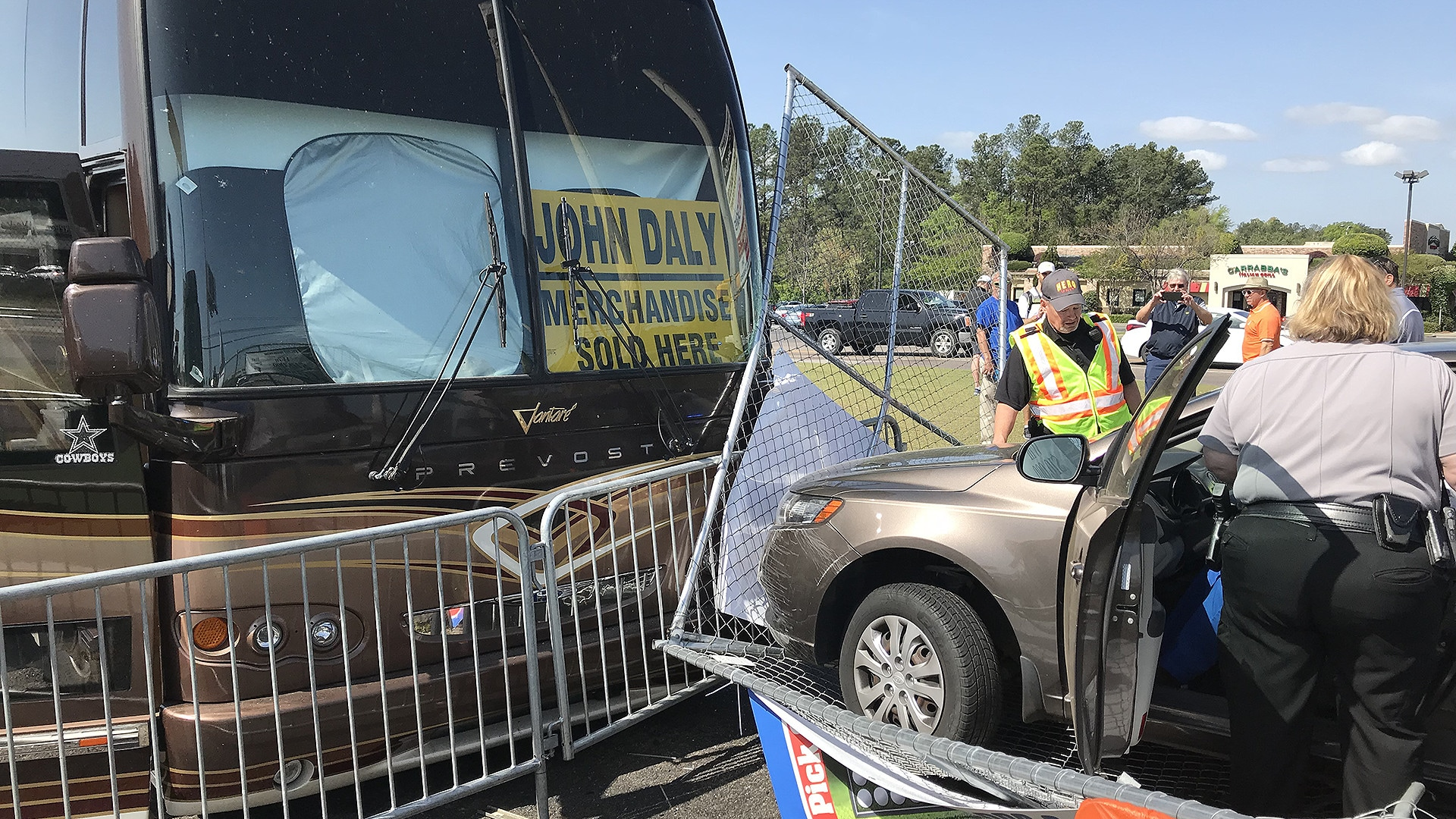 car crashes into john daly u0026 39 s bus in augusta parking lot
