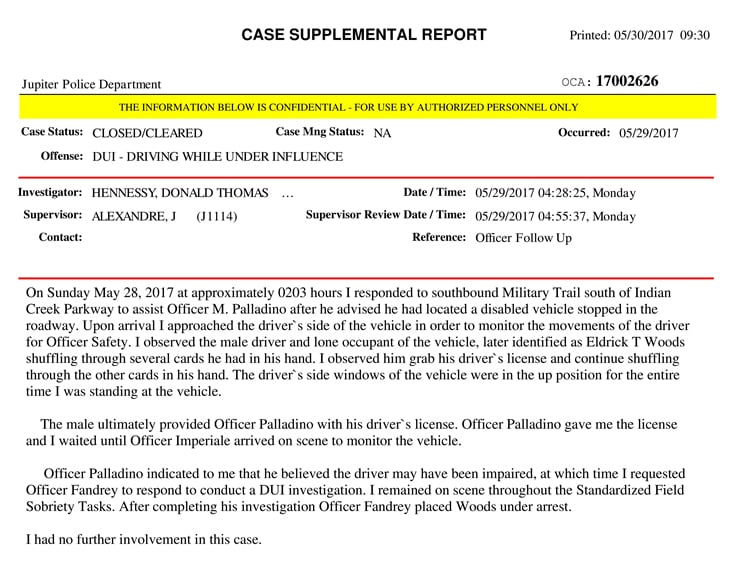 Arresting officers reveal details in Tigers incident report – Incident Report