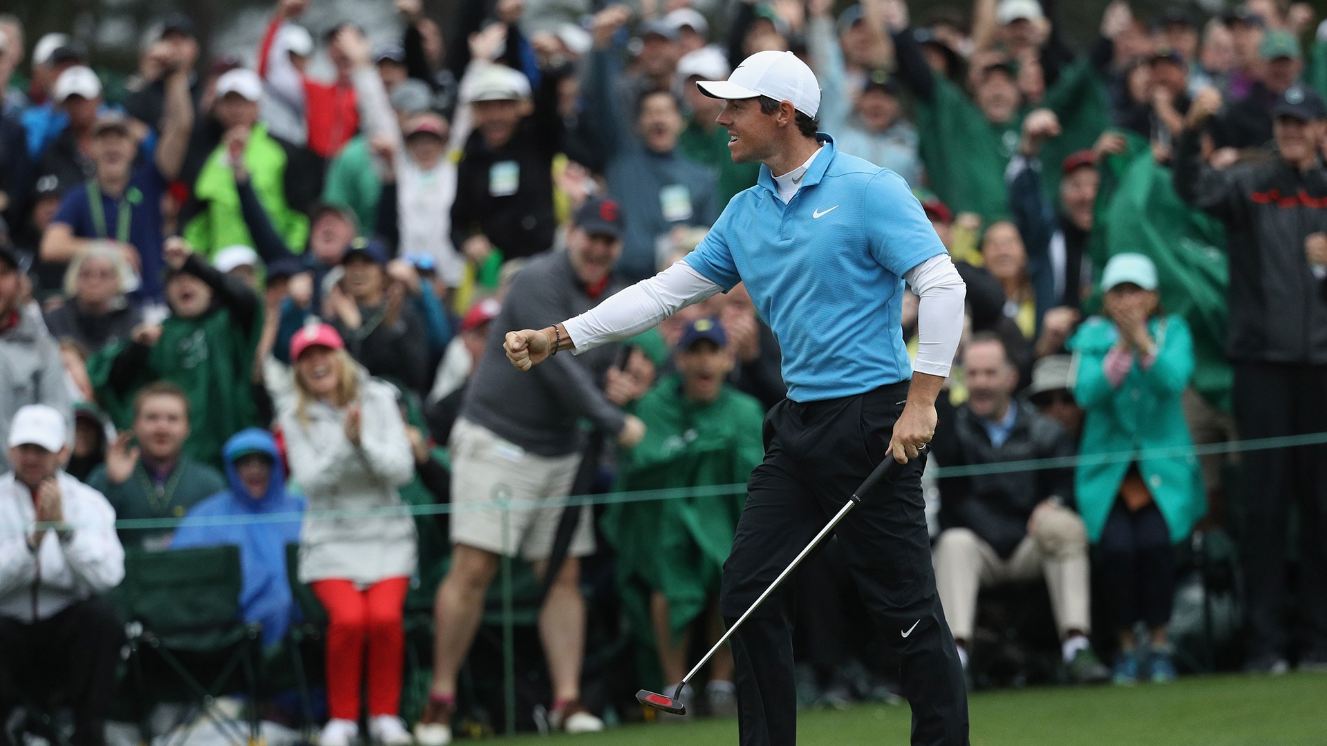 Rory McIlroy on No. 18 on Saturday at the 2018 Masters.