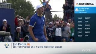 Great Moments in Time: Rahm tops Woods in singles at 2018 Ryder Cup