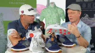 Gary Woodland shows off his Puma golf shoes