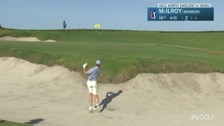 One hop and stop! McIlroy nearly holes out from bunker on No. 16
