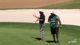 Barefooted Jim McMahon drains birdie putt on 17th hole