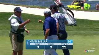 Kevin Millar drains long eagle putt on 18th hole