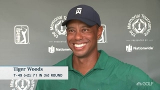 Back feeling better, Tiger (71) recaps bounce-back day at Memorial