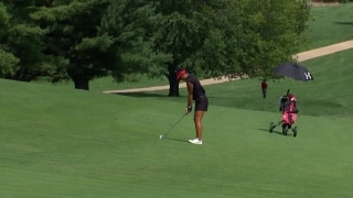 Seumanutafa nearly holes out her approach on 3rd hole