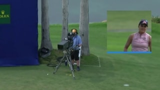 Cameraman's chair keeps Lexi's ball out of the water