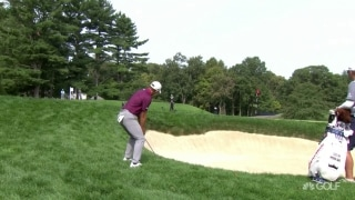 U.S. Open Day 1: Morikawa chips into bunker in front of him