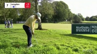 Lengden hits lucky pitch out of thick rough on No. 7