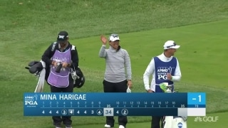 Eagle for Harigae as she holes out from the fairway
