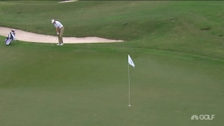 Oklahoma's Jonathan Brightwell chips in for birdie on 16