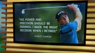 Describe Hovland's golf swing with two rhyming lines