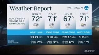 Strong storms expected for NCAA Women's team match play