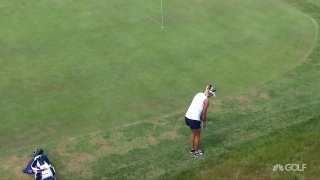 Good touch: Lexi shows off chipping skills with hybrid