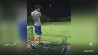 Wait, what? Left-handed club, right-handed flop trick shot