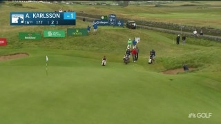 Bunker to birdie: Karlsson holes out in Ireland