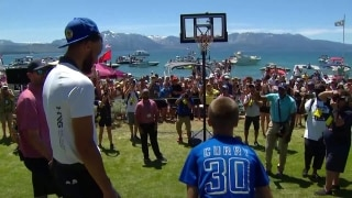 Steph Curry sinks deep three, kid matches at American Century Championship
