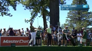 Steph Curry almost wins boat on 12 at American Century Championship