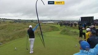 Fore right! Frittelli's errant drive costs him lead