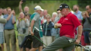 Cue the celebration! Jimenez sinks long putt on 18 at The Senior Open