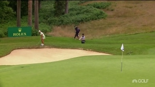 Fassi kisses it off the flagstick with fearless flop shot