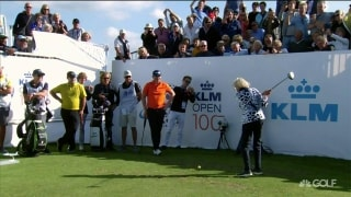 Beat the pro: 100-year-old woman takes on Reed, Pieters, Wallace