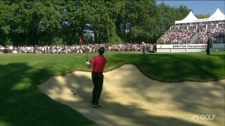 Cabrera Bello holes out from bunker on 14