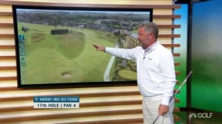 Breaking down key hole No. 17 at St. Andrews Links