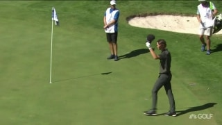 Hats off! Hojgaard holes chip shot for eagle