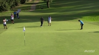 Moving up: Sharma drains long putt for eagle
