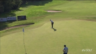 Poulter rolls in late putt, but it isn't enough to make the cut