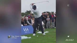 Tiger holds court on the range at Pebble Beach